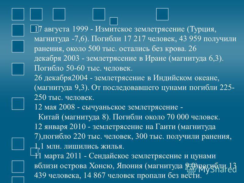 17 августа 1999 - Измитское землетрясение (Турция, магнитуда -7,6). Погибли 17 217 человек, 43 959 получили ранения, около 500 тыс. остались без крова. 26 декабря 2003 - землетрясение в Иране (магнитуда 6,3). Погибло 50-60 тыс. человек. 26 декабря 20