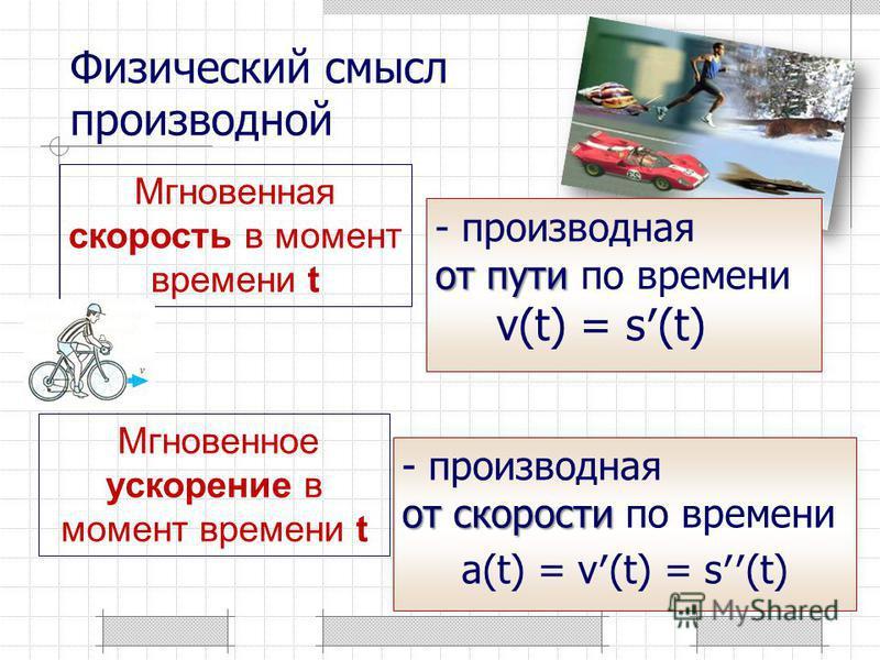 Мгновенная скорость в момент времени t от скорости - производная от скорости по времени a(t) = v(t) = s(t) Физический смысл производной Мгновенное ускорение в момент времени t от пути - производная от пути по времени v(t) = s(t)