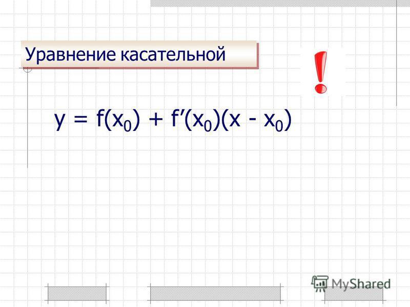 Уравнение касательной y = f(x 0 ) + f(x 0 )(x - x 0 )