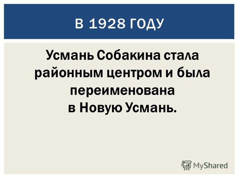 В 1928 ГОДУ Усмань Собакина стала районным центром и была переименована в Новую Усмань.