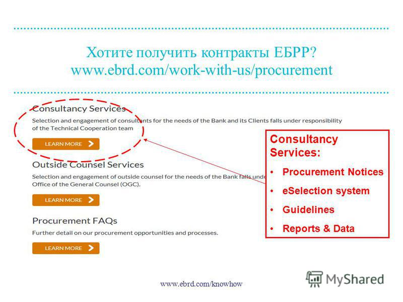 www.ebrd.com/knowhow Хотите получить контракты ЕБРР? www.ebrd.com/work-with-us/procurement Consultancy Services: Procurement Notices eSelection system Guidelines Reports & Data