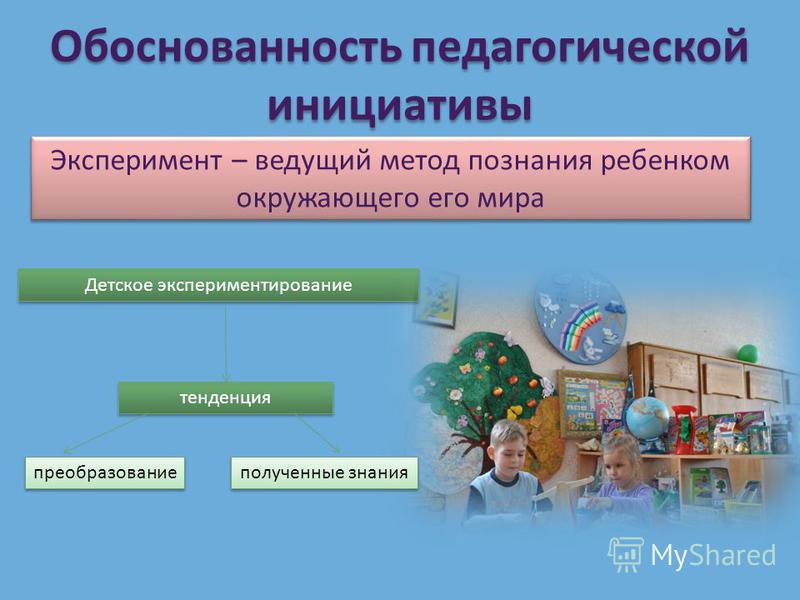 Обоснованность педагогической инициативы Эксперимент – ведущий метод познания ребенком окружающего его мира Детское экспериментирование тенденция преобразование полученные знания
