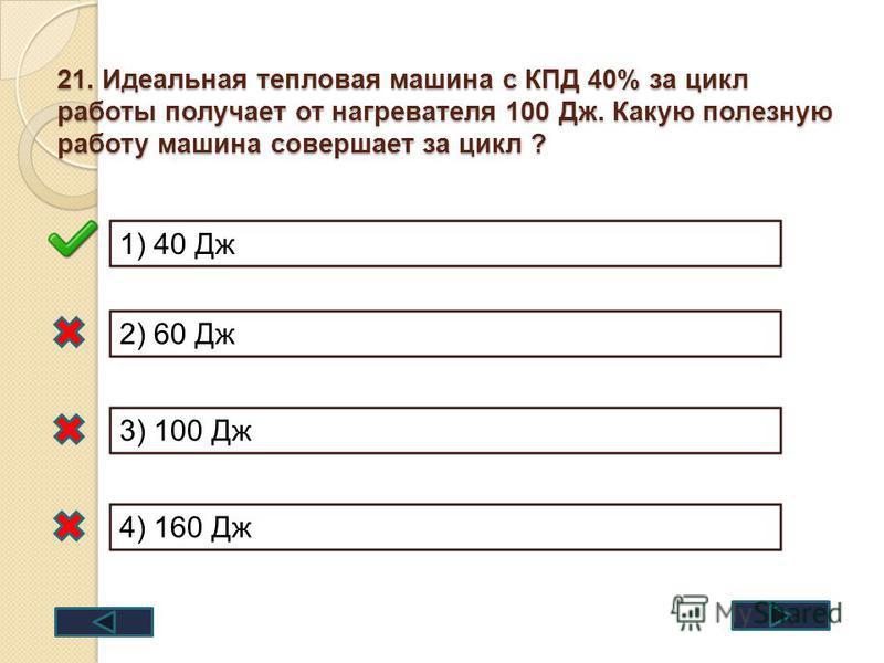 21. Идеальная тепловая машина с КПД 40% за цикл работы получает от нагревателя 100 Дж. Какую полезную работу машина совершает за цикл ? 1) 40 Дж 2) 60 Дж 3) 100 Дж 4) 160 Дж