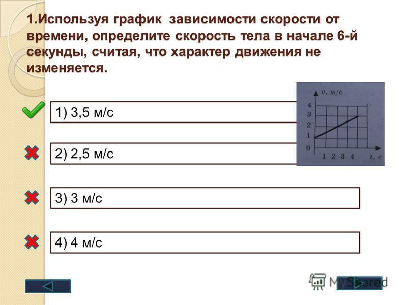1. Используя график зависимости скорости от времени, определите скорость тела в начале 6-й секунды, считая, что характер движения не изменяется. 1) 3,5 м/с 2) 2,5 м/с 3) 3 м/с 4) 4 м/с