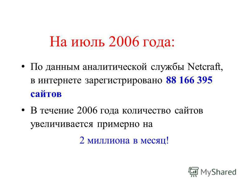 На июль 2006 года: По данным аналитической службы Netcraft, в интернете зарегистрировано 88 166 395 сайтов В течение 2006 года количество сайтов увеличивается примерно на 2 миллиона в месяц!
