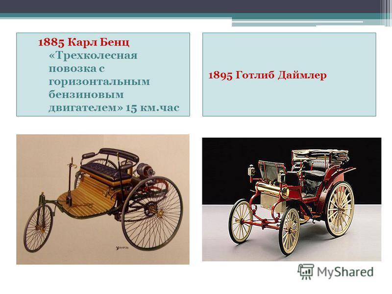 1885 Карл Бенц «Трехколесная повозка с горизонтальным бензиновым двигателем» 15 км.час 1895 Готлиб Даймлер