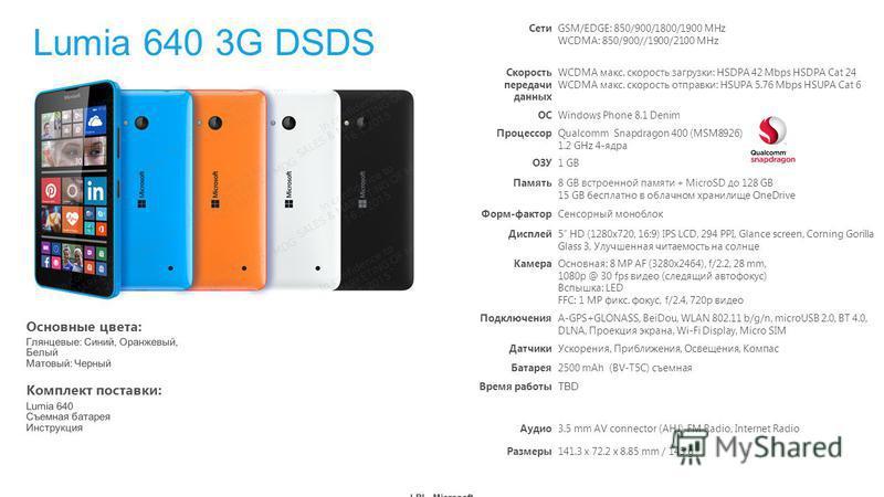Комплект поставки: Основные цвета: Lumia 640 3G DSDS СетиGSM/EDGE: 850/900/1800/1900 MHz WCDMA: 850/900//1900/2100 MHz Скорость передачи данных WCDMA макс. скорость загрузки: HSDPA 42 Mbps HSDPA Cat 24 WCDMA макс. скорость отправки: HSUPA 5.76 Mbps H