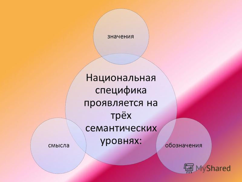 Национальная специфика проявляется на трёх семантических уровнях: значения обозначения смысла