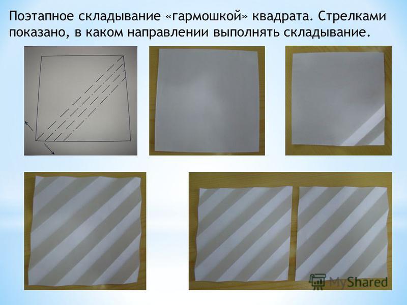 Поэтапное складывание «гармошкой» квадрата. Стрелками показано, в каком направлении выполнять складывание.