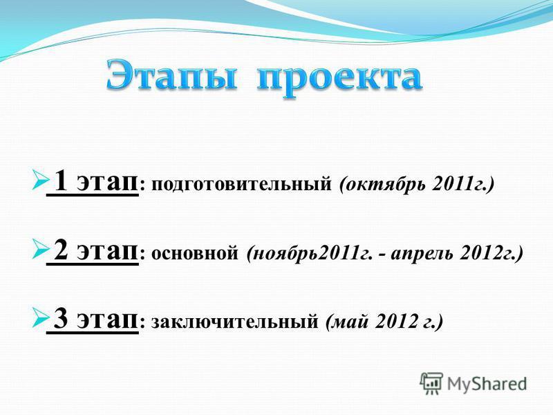 1 этап : подготовительный (октябрь 2011 г.) 2 этап : основной (ноябрь 2011 г. - апрель 2012 г.) 3 этап : заключительный (май 2012 г.)