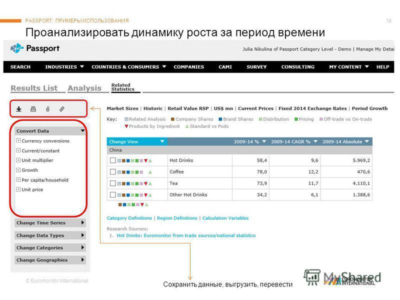 © Euromonitor International 16 Проанализировать динамику роста за период времени PASSPORT: ПРИМЕРЫ ИСПОЛЬЗОВАНИЯ Сохранить данные, выгрузить, перевести