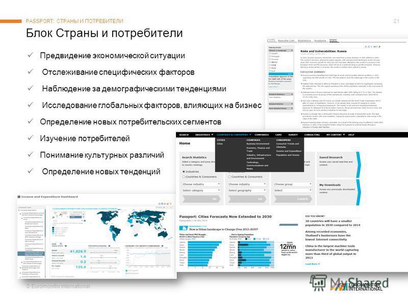 © Euromonitor International 21 Предвидение экономической ситуации Отслеживание специфических факторов Наблюдение за демографическими тенденциями Исследование глобальных факторов, влияющих на бизнес Определение новых потребительских сегментов Изучение