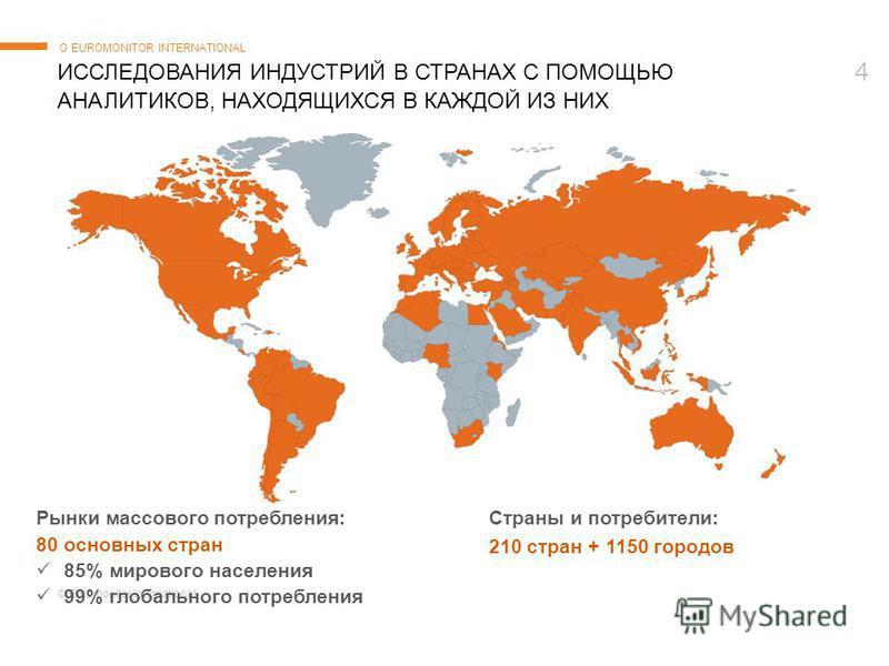 © Euromonitor International 4 ИССЛЕДОВАНИЯ ИНДУСТРИЙ В СТРАНАХ С ПОМОЩЬЮ АНАЛИТИКОВ, НАХОДЯЩИХСЯ В КАЖДОЙ ИЗ НИХ О EUROMONITOR INTERNATIONAL Рынки массового потребления: 80 основных стран 85% мирового населения 99% глобального потребления Страны и по