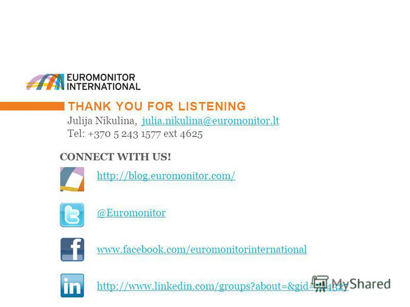 © Euromonitor International 44 THANK YOU FOR LISTENING Julija Nikulina, julia.nikulina@euromonitor.ltjulia.nikulina@euromonitor.lt Tel: +370 5 243 1577 ext 4625 CONNECT WITH US! http://blog.euromonitor.com/ @Euromonitor www.facebook.com/euromonitorin