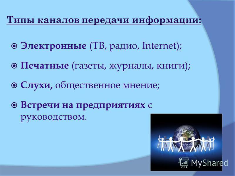 Типы каналов передачи информации: Электронные (ТВ, радио, Internet); Печатные (газеты, журналы, книги); Слухи, общественное мнение; Встречи на предприятиях с руководством.