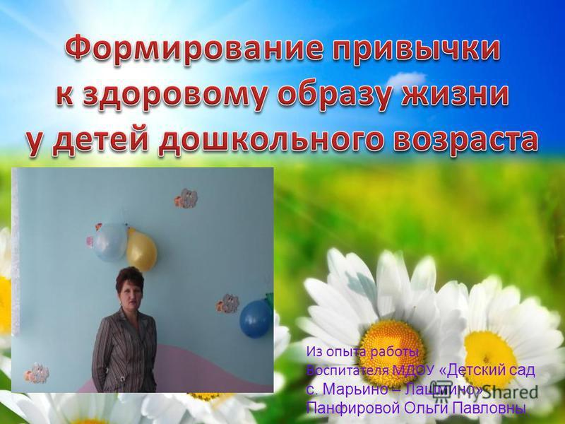 Из опыта работы Воспитателя МДОУ «Детский сад с. Марьино – Лашмино» Панфировой Ольги Павловны