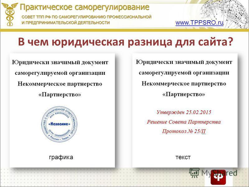 www.TPPSRO.ru В чем юридическая разница для сайта? графика текст