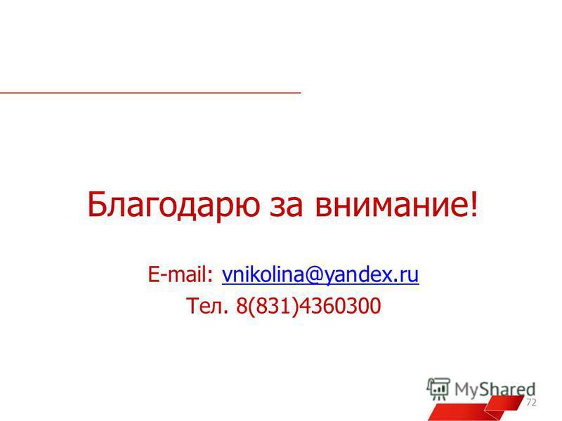 Благодарю за внимание! E-mail: vnikolina@yandex.ruvnikolina@yandex.ru Тел. 8(831)4360300 72