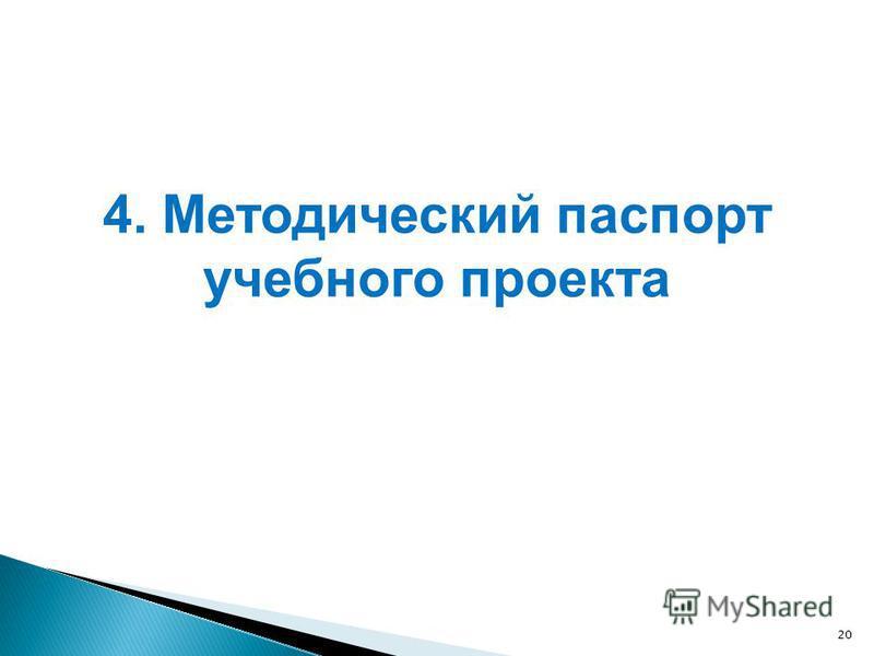 20 4. Методический паспорт учебного проекта