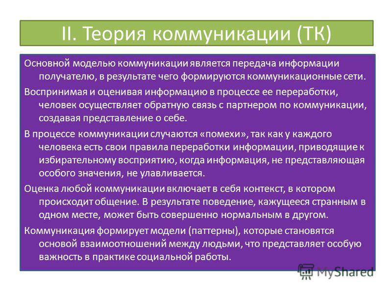 II. Теория коммуникации (ТК) Основной моделью коммуникации является передача информации получателю, в результате чего формируются коммуникационные сети. Воспринимая и оценивая информацию в процессе ее переработки, человек осуществляет обратную связь