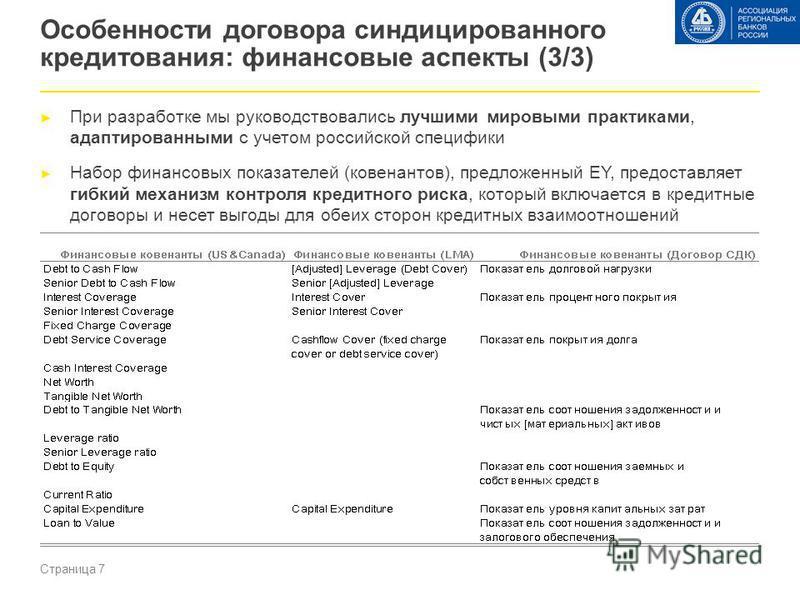 Страница 7 Особенности договора синдицированного кредитования: финансовые аспекты (3/3) При разработке мы руководствовались лучшими мировыми практиками, адаптированными с учетом российской специфики Набор финансовых показателей (ковенантов), предложе