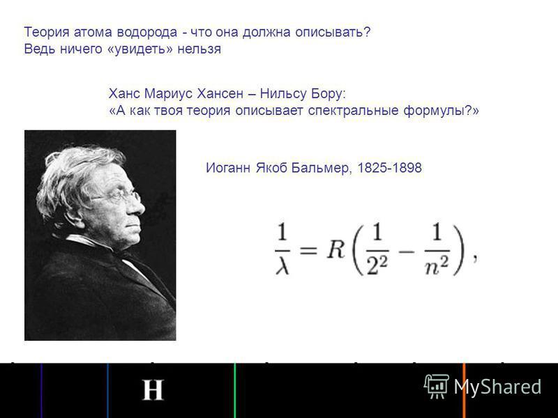 Теория атома водорода - что она должна описывать? Ведь ничего «увидеть» нельзя Ханс Мариус Хансен – Нильсу Бору: «А как твоя теория описывает спектральные формулы?» Иоганн Якоб Бальмер, 1825-1898