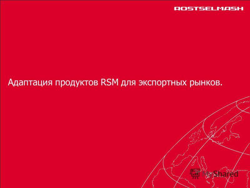 Адаптация продуктов RSM для экспортных рынков.