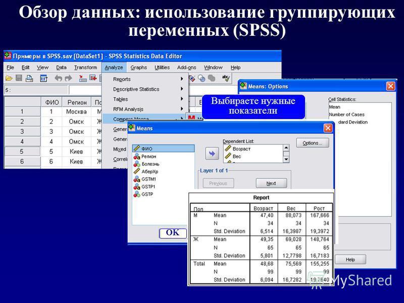 Обзор данных: использование группирующих переменных (SPSS) Выбираете нужные показатели Группирующая переменная OK