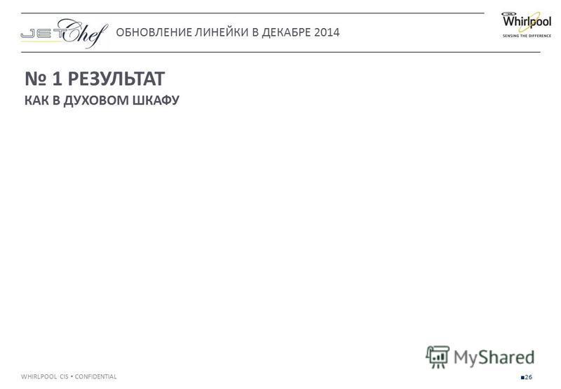 WHIRLPOOL CIS CONFIDENTIAL 26 1 РЕЗУЛЬТАТ КАК В ДУХОВОМ ШКАФУ ОБНОВЛЕНИЕ ЛИНЕЙКИ В ДЕКАБРЕ 2014