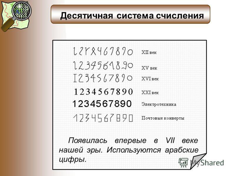 Десятичная система счисления Появилась впервые в VII веке нашей эры. Используются арабские цифры.