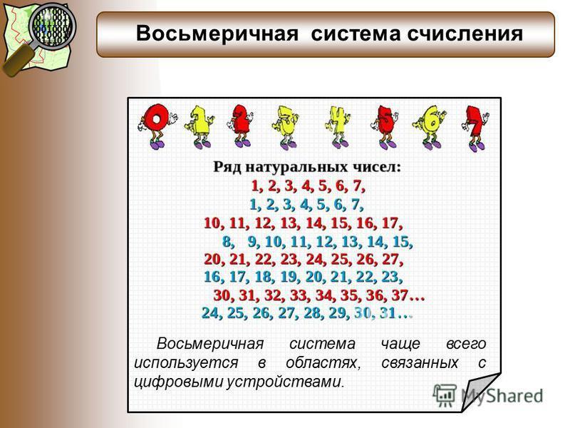 Восьмеричная система счисления Восьмеричная система чаще всего используется в областях, связанных с цифровыми устройствами.