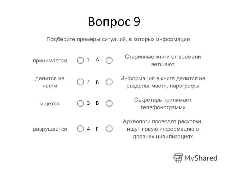 Вопрос 9 1А2Б3В4Г1А2Б3В4Г