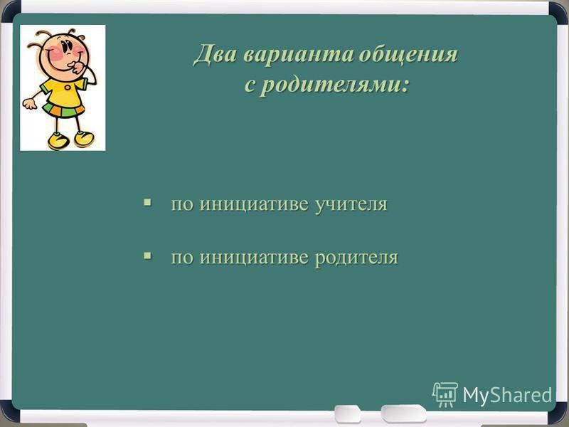 Два варианта общения с родителями: по инициативе учителя по инициативе учителя по инициативе родителя по инициативе родителя