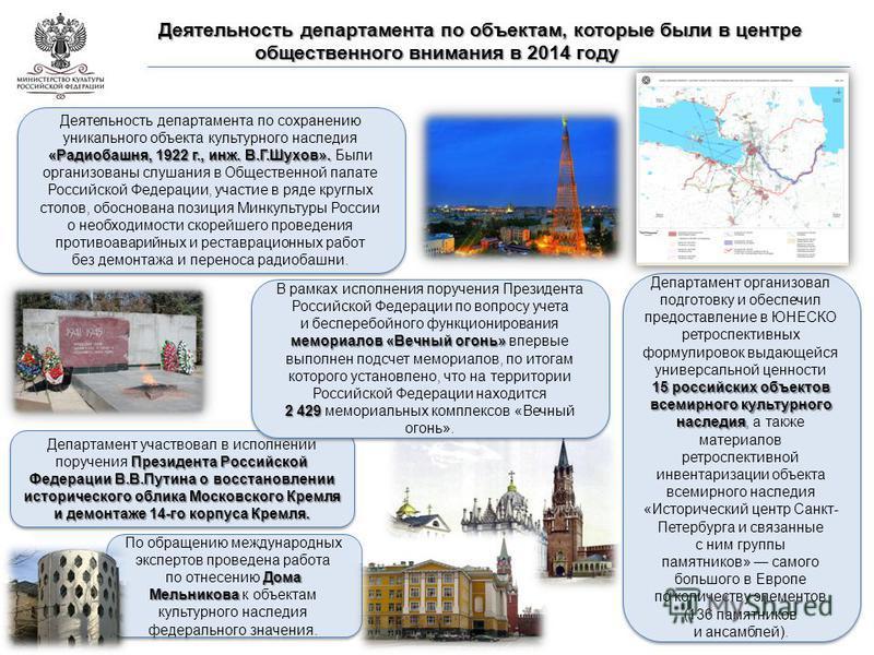 15 российских объектов всемирного культурного наследия Департамент организовал подготовку и обеспечил предоставление в ЮНЕСКО ретроспективных формулировок выдающейся универсальной ценности 15 российских объектов всемирного культурного наследия, а так