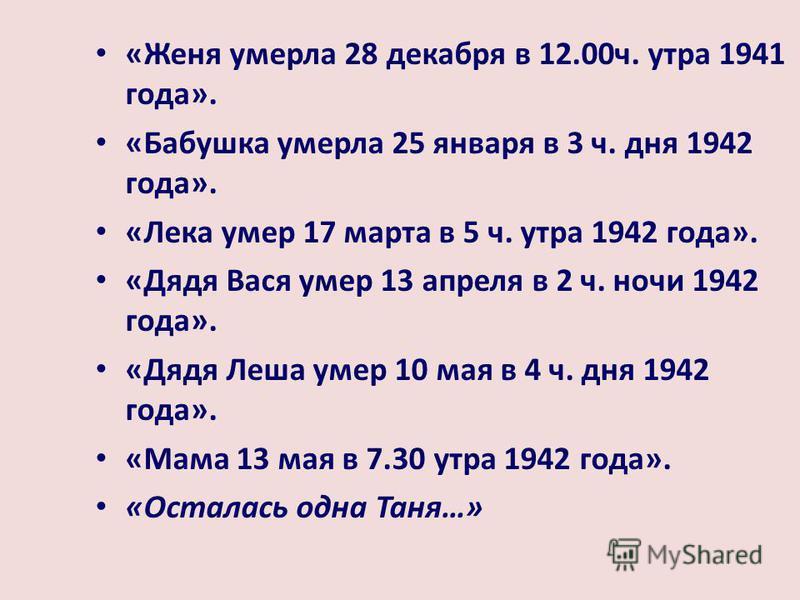 «Женя умерла 28 декабря в 12.00 ч. утра 1941 года». «Бабушка умерла 25 января в 3 ч. дня 1942 года». «Лека умер 17 марта в 5 ч. утра 1942 года». «Дядя Вася умер 13 апреля в 2 ч. ночи 1942 года». «Дядя Леша умер 10 мая в 4 ч. дня 1942 года». «Мама 13