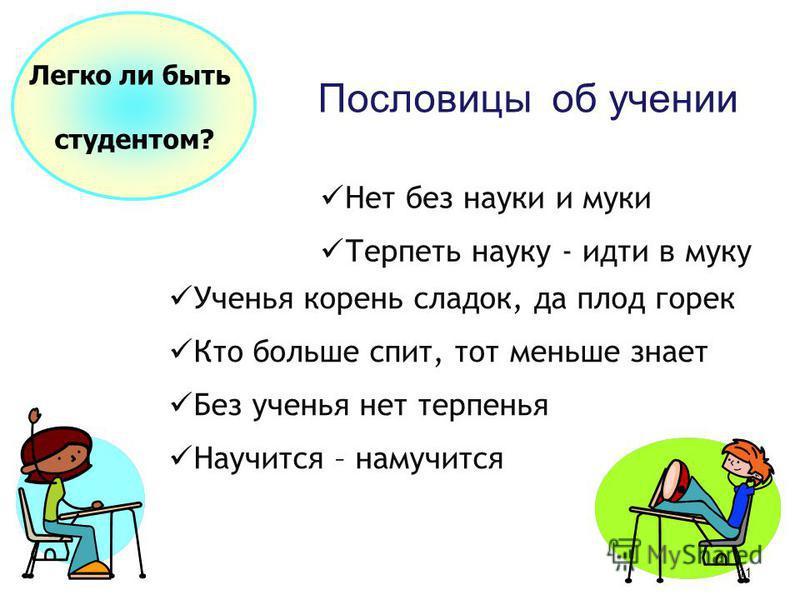 10 Структура решения задачи: I этап – анализ условия Легко ли быть студентом? II этап – схематическая запись условия III этап – поиск способа решения