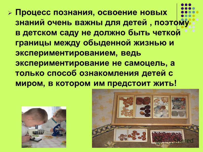 Процесс познания, освоение новых знаний очень важны для детей, поэтому в детском саду не должно быть четкой границы между обыденной жизнью и экспериментированием, ведь экспериментирование не самоцель, а только способ ознакомления детей с миром, в кот