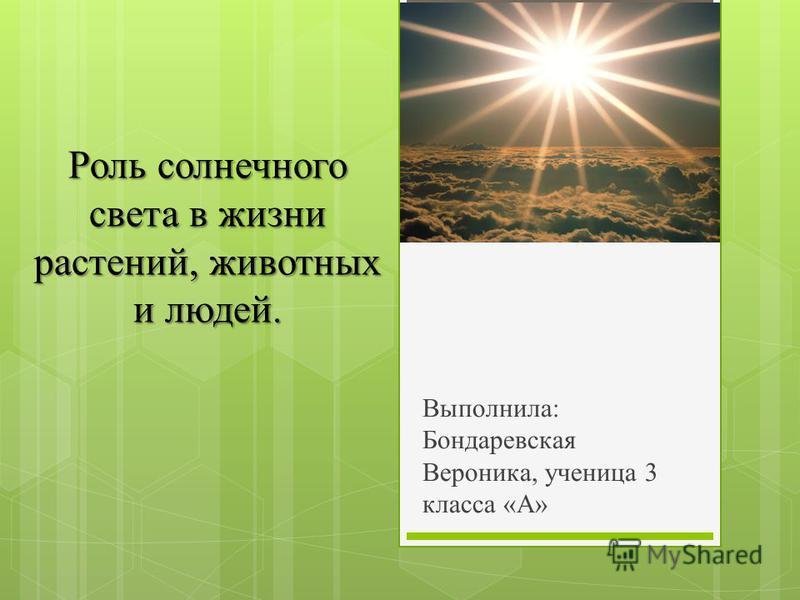 Роль солнечного света в жизни растений, животных и людей. Выполнила: Бондаревская Вероника, ученица 3 класса «А»