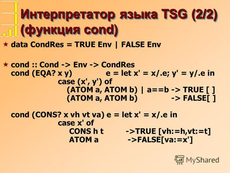 Интерпретатор языка TSG (2/2) (функция cond) data CondRes = TRUE Env | FALSE Env cond :: Cond -> Env -> CondRes cond (EQA? x y) e = let x' = x/.e; y' = y/.e in case (x', y') of (ATOM a, ATOM b) | a==b -> TRUE [ ] (ATOM a, ATOM b) -> FALSE[ ] cond (CO