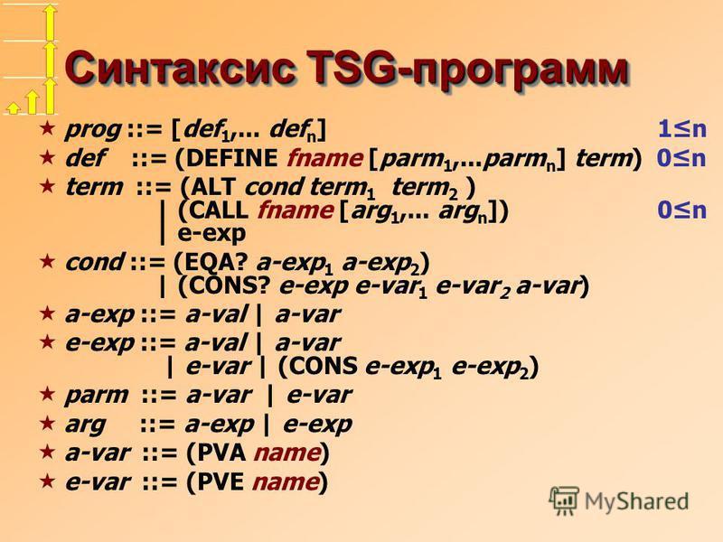 Синтаксис TSG-программ prog ::= [def 1,... def n ] 1n def ::= (DEFINE fname [parm 1,...parm n ] term) 0n term ::= (ALT cond term 1 term 2 ) | (CALL fname [arg 1,... arg n ]) 0n | e-exp cond ::= (EQA? a-exp 1 a-exp 2 ) | (CONS? e-exp e-var 1 e-var 2 a