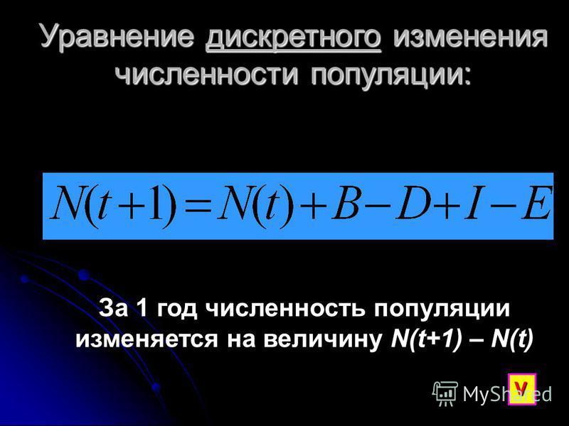 Уравнение дискретного изменения численности популяции: За 1 год численность популяции изменяется на величину N(t+1) – N(t) V