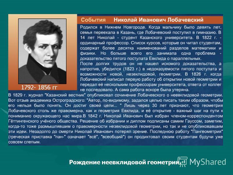 1792- 1856 гг Рождение неевклидовой геометрии.