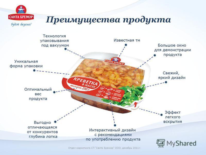 Преимущества продукта Отдел маркетинга СП Санта Бремор ООО, декабрь 2011 г.