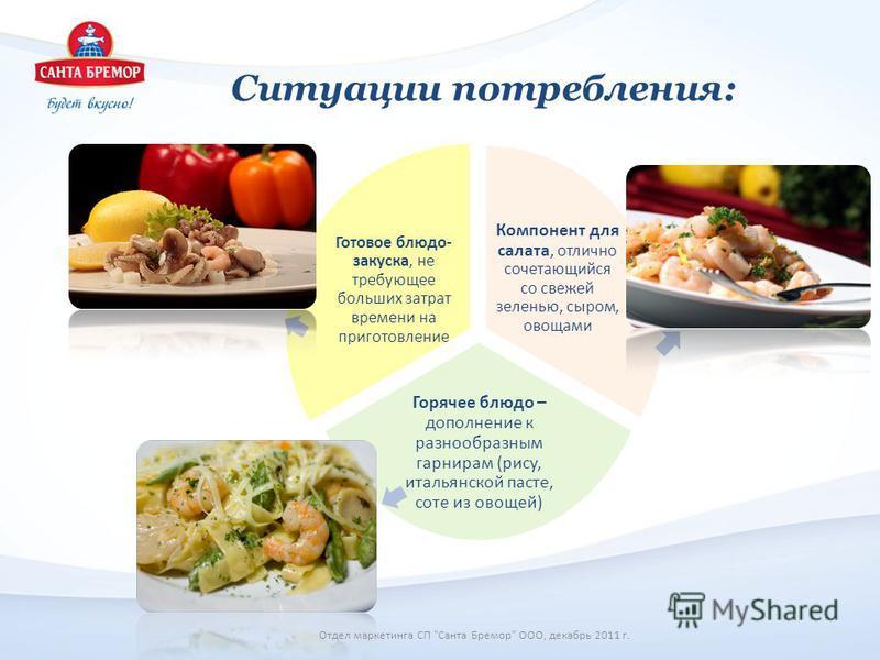 Ситуации потребления: Компонент для салата, отлично сочетающийся со свежей зеленью, сыром, овощами Горячее блюдо – дополнение к разнообразным гарнирам (рису, итальянской пасте, соте из овощей) Готовое блюдо- закуска, не требующее больших затрат време