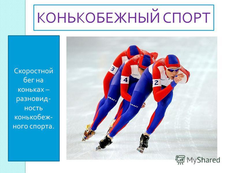 Скоростной бег на коньках – разновидность конькобежного спорта. КОНЬКОБЕЖНЫЙ СПОРТ