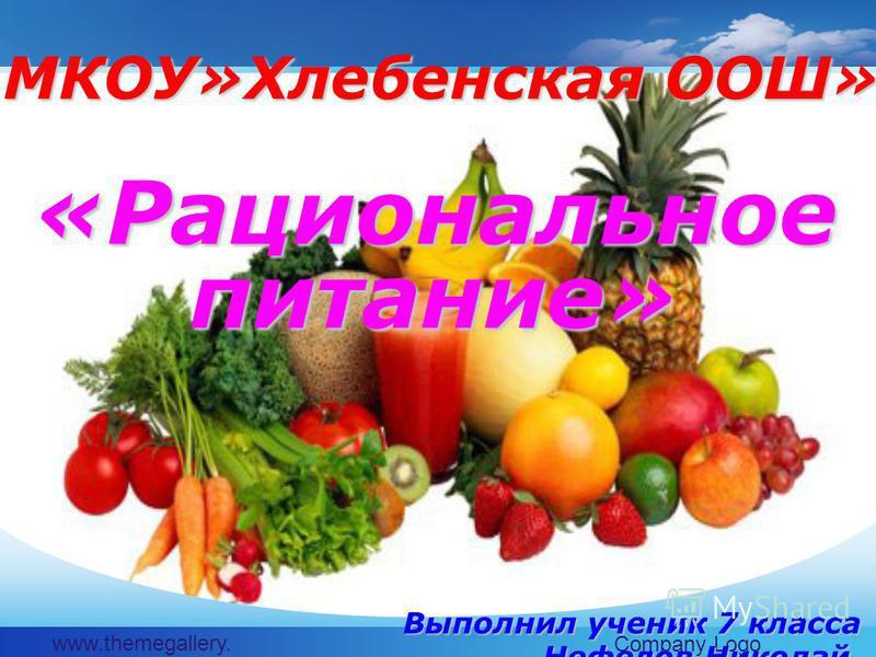 www.themegallery. com Company Logo МКОУ»Хлебенская ООШ» «Рациональное питание» Выполнил ученик 7 класса Нефедов Николай.