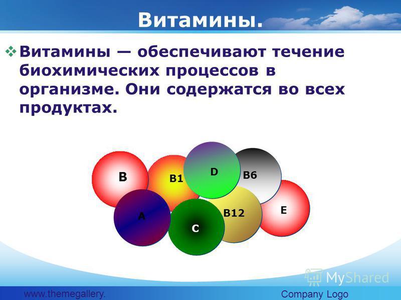 www.themegallery. com Company Logo Витамины обеспечивают течение биохимических процессов в организме. Они содержатся во всех продуктах. Витамины. B B1 A C D B12 E B6