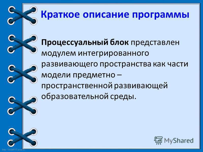 http://linda6035.ucoz.ru/ Краткое описание программы Процессуальный блок представлен модулем интегрированного развивающего пространства как части модели предметно – пространственной развивающей образовательной среды.