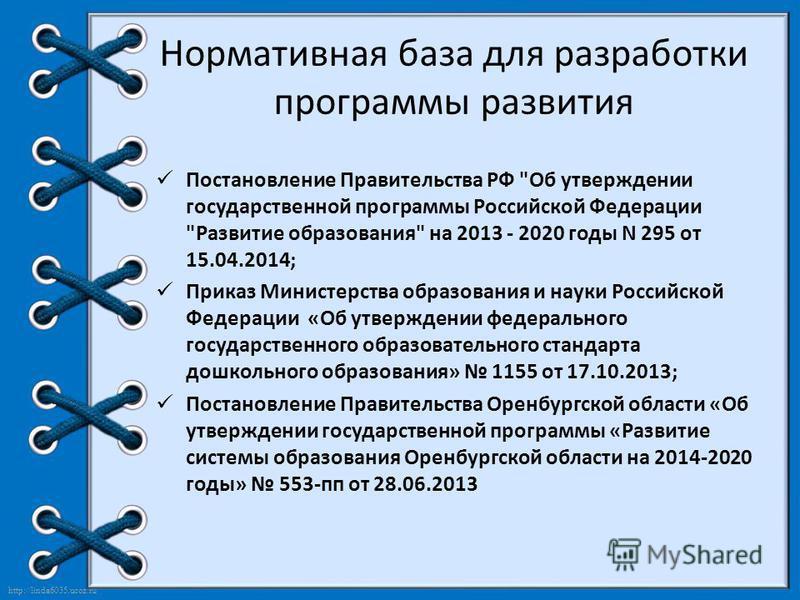http://linda6035.ucoz.ru/ Нормативная база для разработки программы развития Постановление Правительства РФ