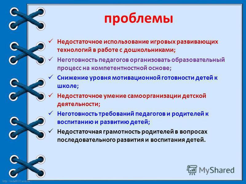http://linda6035.ucoz.ru/ проблемы Недостаточное использование игровых развивающих технологий в работе с дошкольниками; Неготовность педагогов организовать образовательный процесс на компетентностной основе; Снижение уровня мотивационной готовности д